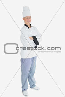 Female chef with arms crossed