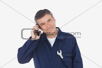 Portrait of mechanic on call