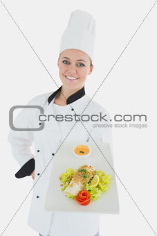 Portrait of chef with healthy food
