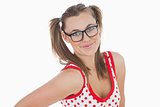 Young woman in ponytails wearing glasses