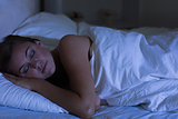 Woman sleeping at night