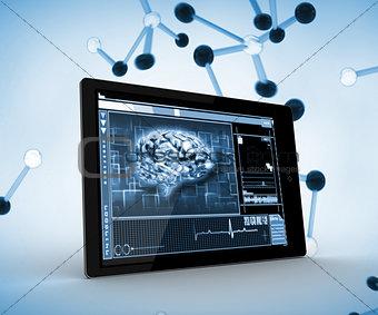 Blue brain on a digital tablet