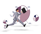 Businessman running with his suitcase against a background