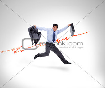 Man in suit running against a curve in white background