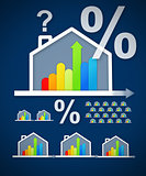Energy efficient house graphic with percentage and question mark
