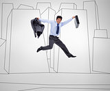 Businessman jumping against a grey background