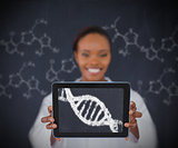Smiling woman showing DNA Helix