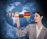 Woman in suit choosing Spanish flag