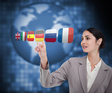Businesswoman choosing Germany flag