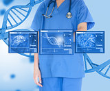 Woman doctor against background with dna