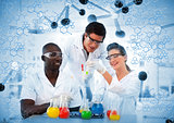 Happy scientist examining test tube on digitally generated background