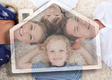 Happy young family with house illustration