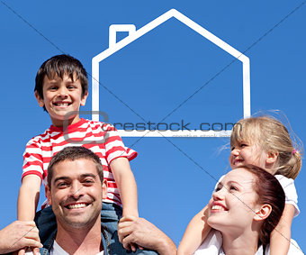 Joyful parents giving their children piggyback ride