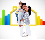 Happy family standing with an energy efficient illustration