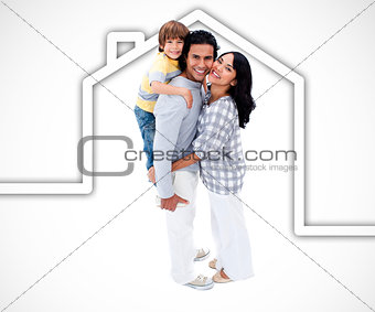 Happy family standing with a white house illustration on a white background