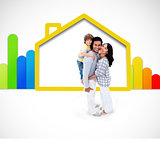 Lovely family standing with a yellow house illustration with energy rating symbol