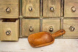 empty rustic wooden scoop