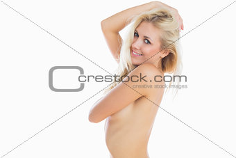 Portrait of naked woman smiling