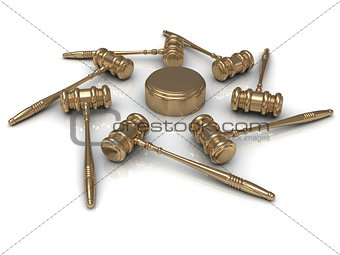 Abstract image 7 golden judges gavel