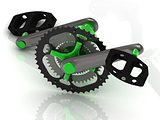 Pedal with gears and levers