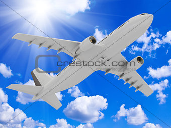 airliner rises into the sky