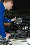 Mechanic by car holding tablet pc