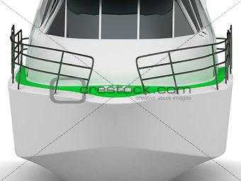 Close up front Motorized pleasure boat