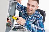 Computer engineer repairing cpu at workplace