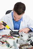 Closeup of computer engineer repairing sound card