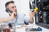 Computer engineer working on cpu while on call