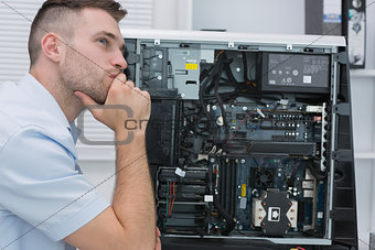 Thoughtful hardware professional by an open cpu