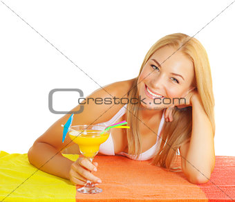Cute woman drink cocktail