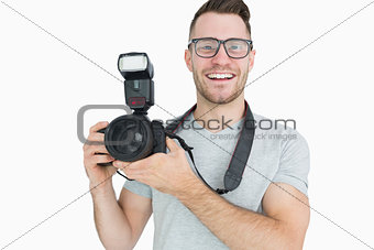Portrait of photographer with photographic camera