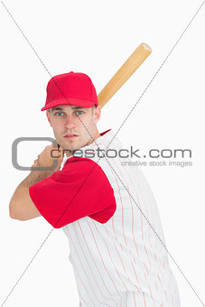 Portrait of baseball batter in batting stance
