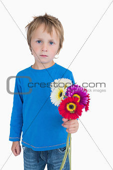 Portrait of cute young boy holding out flowers
