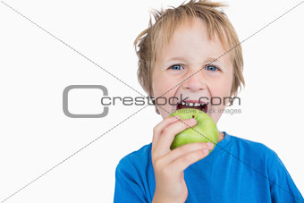Portrait of young boy eating green apple