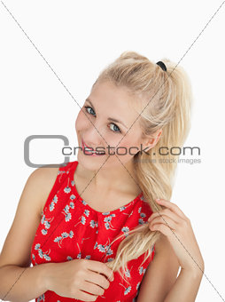 Portrait of happy casual woman with blonde hair