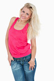 Casual woman posing over white background