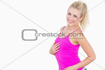 Portrait of happy casual woman posing