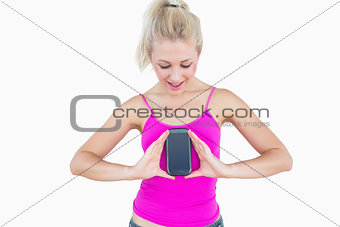 Portrait of casual woman with new smartphone