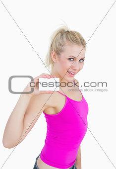 Portrait of beautiful woman holding blank card