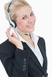 Portrait of young business woman wearing headset