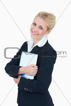 Portrait of business woman with digital tablet