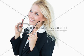 Portrait of attractive business woman with glasses