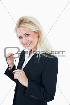 Portrait of beautiful young business woman with glasses