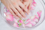 Womans hands in bowl with petals at hands spa