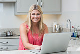 Portrait of happy young woman using laptop in the kitchen