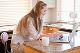 Young woman using laptop in the kitchen