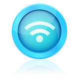Blue vector wifi button