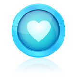Blue vector heart button